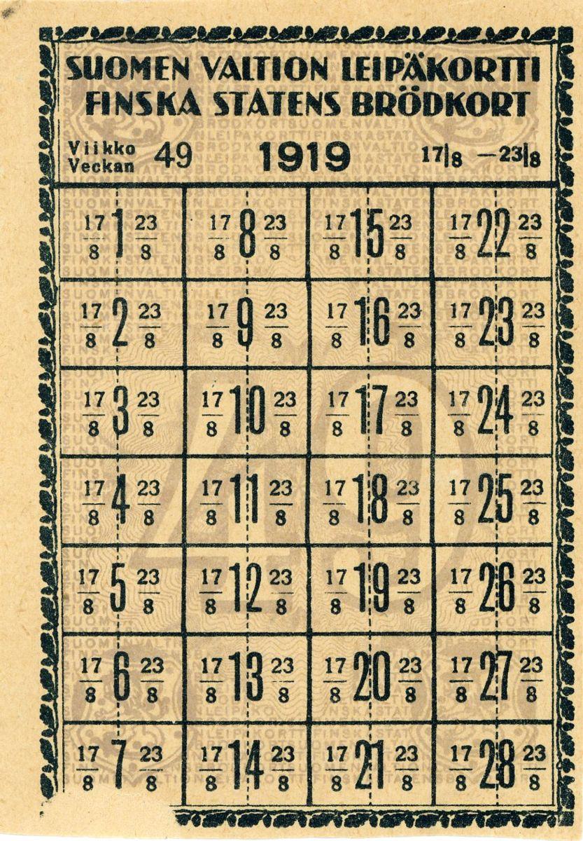 Kuvassa Suomen valtion leipäkortti vuodelta 1919